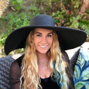 Ladies Large Brim Black Floppy Hat - New With Tags